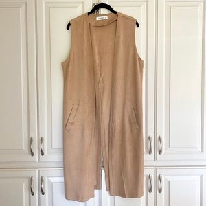 Tan Faux Suede Vest Cardigan with open V Back